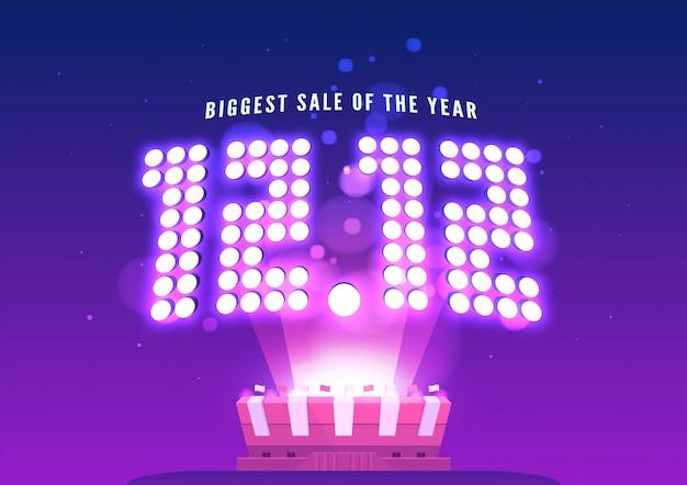 12.12オンラインショッピング販売。シングルデーセールバナー。グローバルショッピングの世界の日。