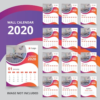 12か月の壁掛けカレンダー2020