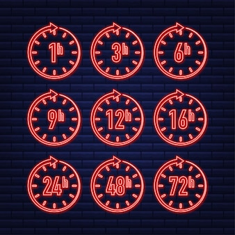 12 24 48 72 hours neon clock arrow work time effect or delivery service time