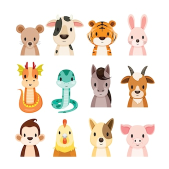 12 animals chinese zodiac signs objects set