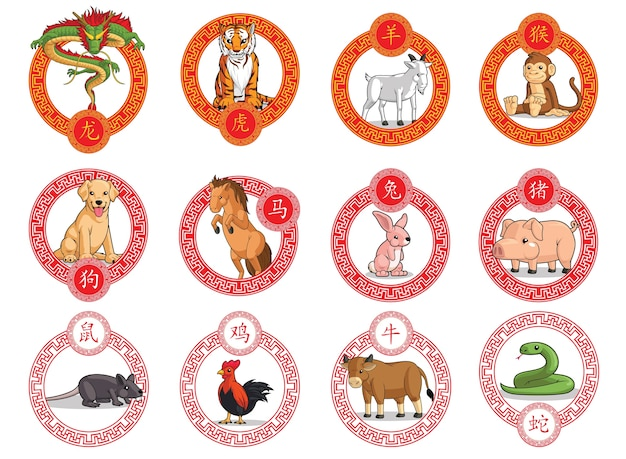 12 chinese zodiac animals ornamental frame lunar new year isolated circular