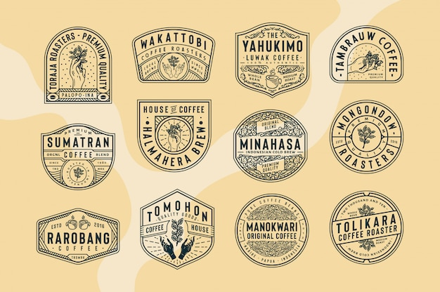12 coffee logo and badge templates black and white logo fully editable text, color and outline