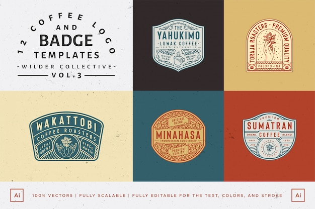 12 coffee logo and badge templates fully editable text, color and outline