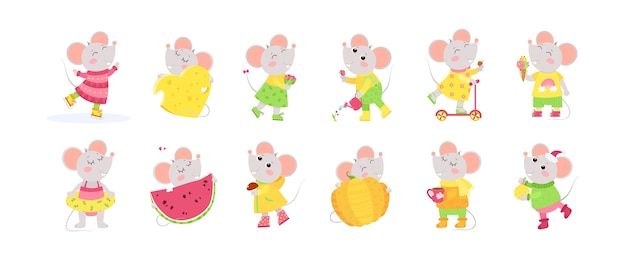 12 cute little mice cartoon characters. big set with cute animals.