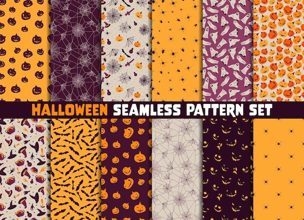 12 다른 할로윈 벡터 원활한 패턴 세트