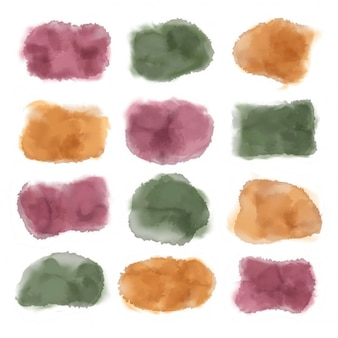 12 editable watercolor stains