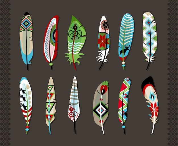 12 feathers painted with colorful ethnic pattern  with animal symbols or geometric shapes  concept of primitive art and natural creativity  on grey background with vertical seamless decorative borders