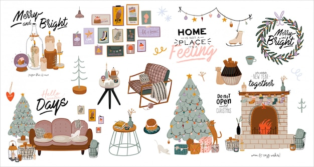 12月の家の装飾が施された北欧のインテリア。かわいいイラストとhyggeスタイルのクリスマスのタイポグラフィ。