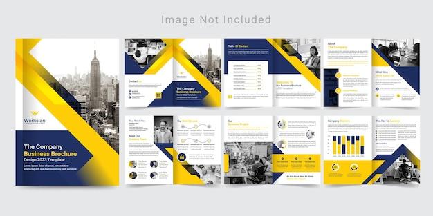 12ページの企業パンフレットデザインまたは会社概要テンプレート。