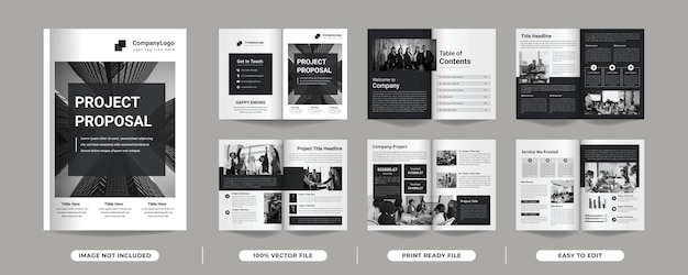 12 pages of multipurpose minimalist black colour project proposal brochure template with cover page
