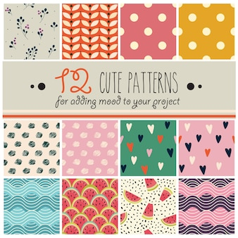 12 patterns set in cute childish style