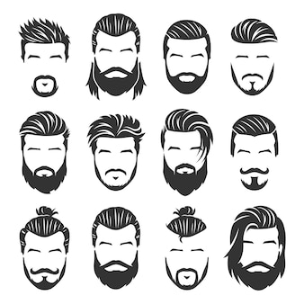 12 set of vector bearded men faces