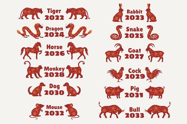 中国の旧正月のための12の干支動物年のある中国のカレンダー動物マウスブルタイガーウサギドラゴンスネークホースヤギモンキーチキンドッグピッグ