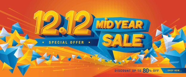 1212 쇼핑 데이 중년 판매 배너 템플릿 특별 제공 할인추상 삼각형 웹 헤더