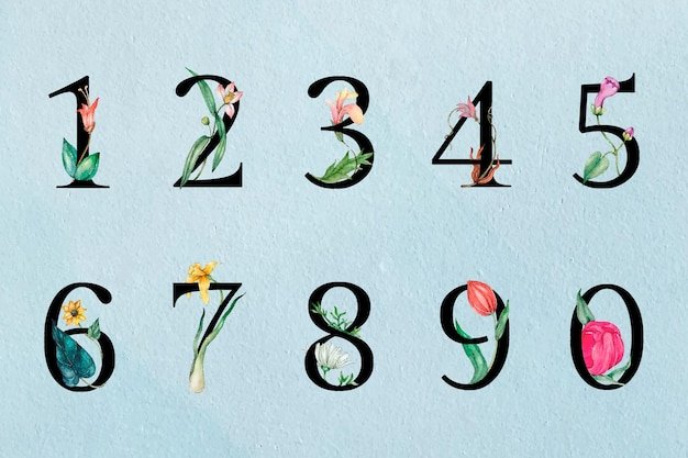 123 number collection botanical vintage typography Free Vector