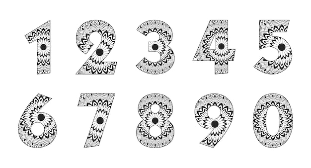 123 number collection with mandala design