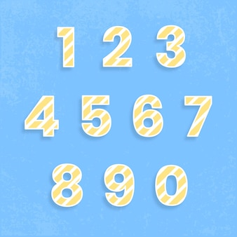 123 set typography vector stripe pattern