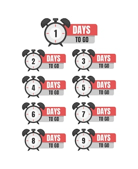 123456789days to go promotion icon best deal symbol