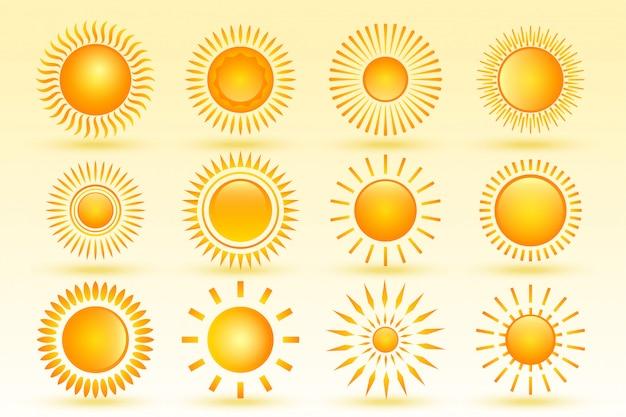 さまざまな形で12の光沢のある太陽のセット