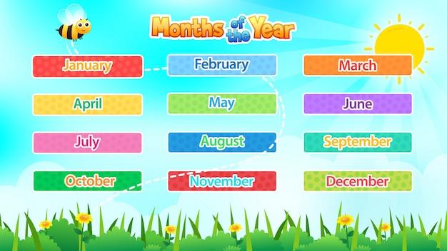 12 месяцев года, милая иллюстрация месяцев года