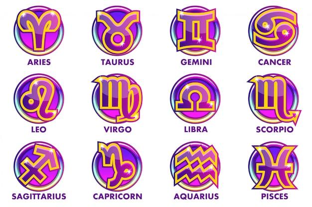 Круги фиолетовые знаки астрологии, 12 знаков зодиака. иконки приложений для пользовательского интерфейса