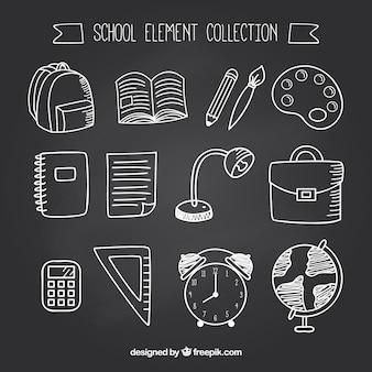 12 школьных элементов в стиле доски