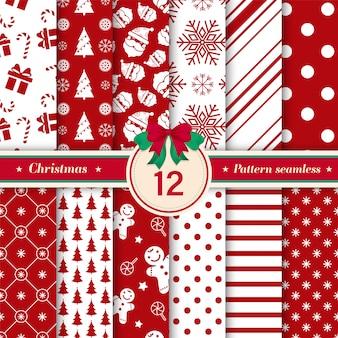 12のクリスマスシームレスパターンの赤と白の色のセット。