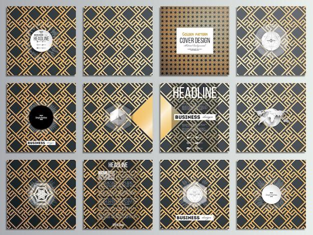 12個のクリエイティブカード、スクエアパンフレットテンプレートデザインのセット。イスラムゴールドパターン