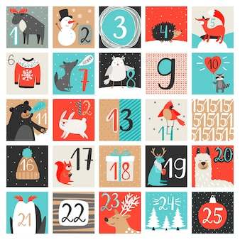 アドベントカレンダー。 12月のカウントダウンカレンダー、クリスマスイブの数字で設定された創造的な冬