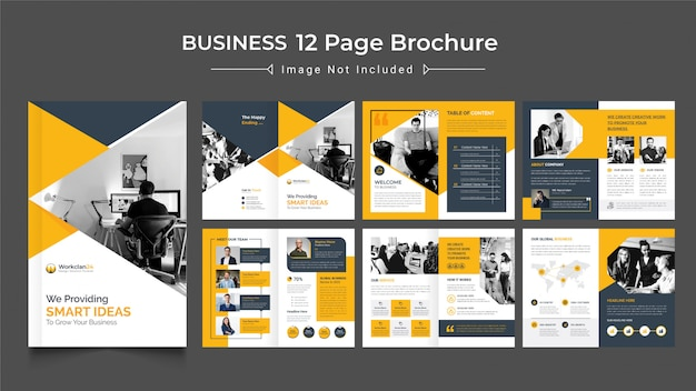 12ページのビジネスパンフレットのデザインテンプレート