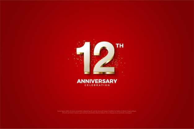 12주년 기념 고급스러운 골드 숫자 코팅