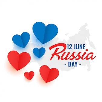 12th june russia day heart decoration poster design