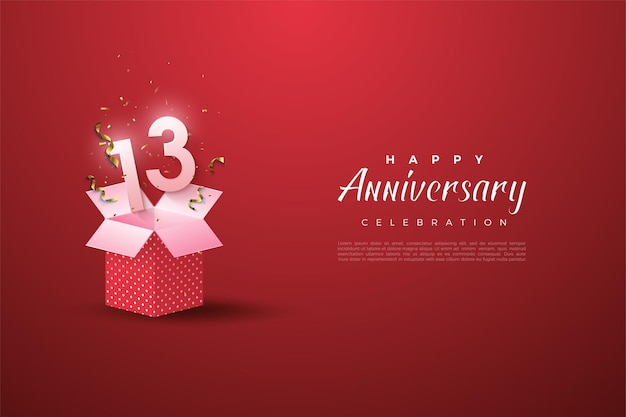 13th anniversary with a number illustration on an open gift box.