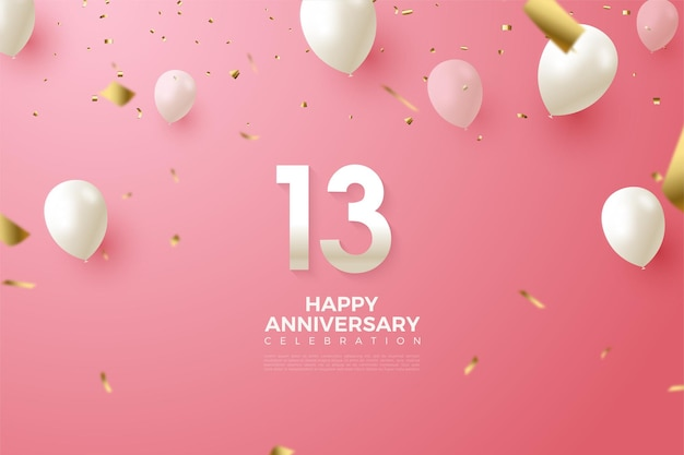 13th anniversary with numbers and white balloons illustration.