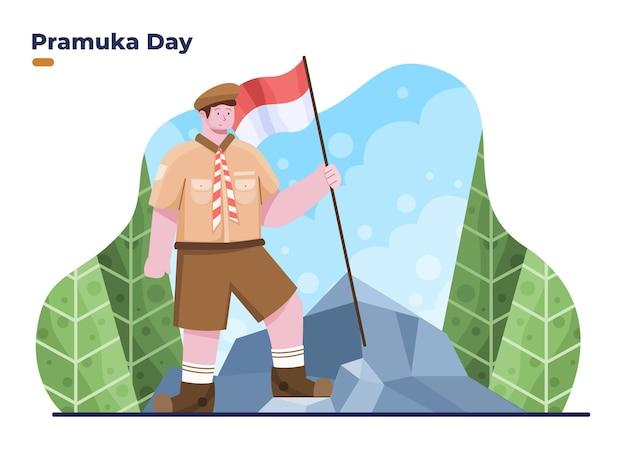 8월 14일 산에서 하이킹하는 소년과 함께 인도네시아 프라무카의 날 또는 스카우트의 날 플랫 일러스트레이션을 축하합니다.
