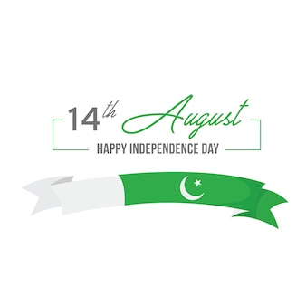 14 august pakistan independence day typography and ribbon
