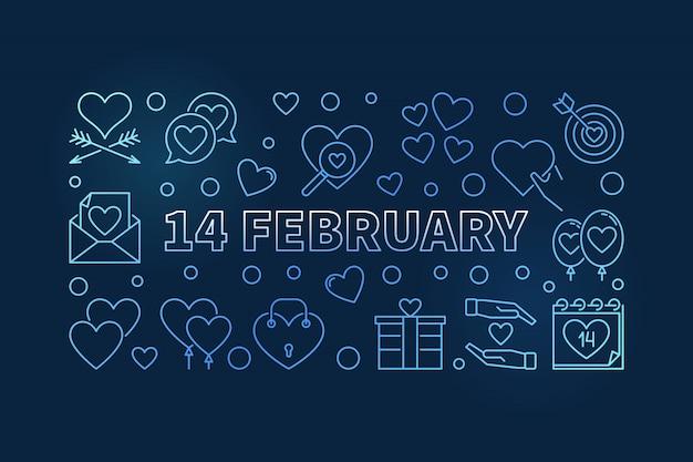 14 february blue line illustration. valentine's day  banner
