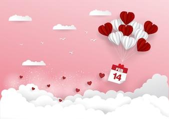 14 february calendar with heart balloon
