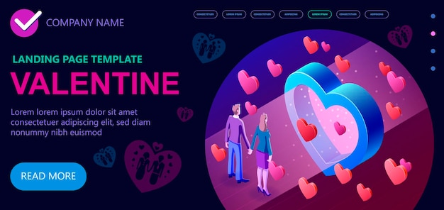 14 february isometric valentines day, 3d vector isometric concept illustration, isometric vector concept banner, vector illustration
