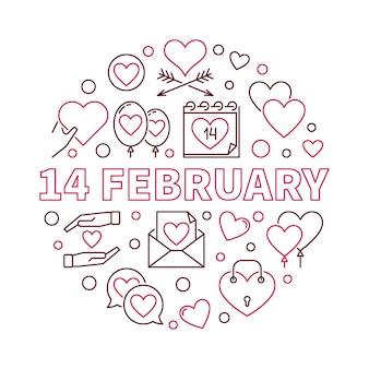 14 february outline illustration