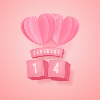 2月14日、バレンタインフェスティバルとピンクのハートバルーン