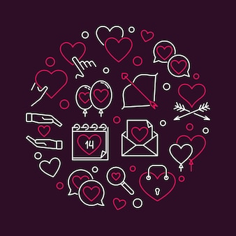 14 february valentine's day round outline illustration