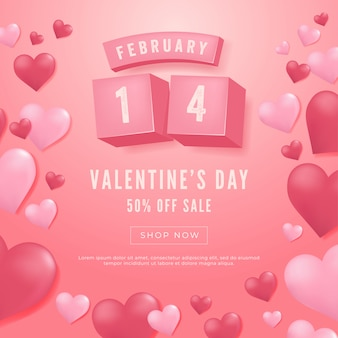 14 february, valentine's day sale banner.