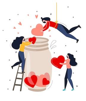 2月14日。バレンタインデーのコンセプト。小さな人々は瓶に心を集めます。漫画のスタイルで