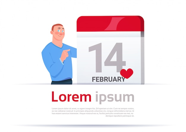 14 february valentines day man calendar page banner with copy space