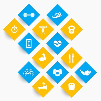 14 fitness, gym icons, exercise, training pictograms on rhombic shapes, vector illustration