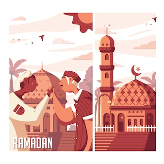Рамадан флэт иллюстрация 1440h