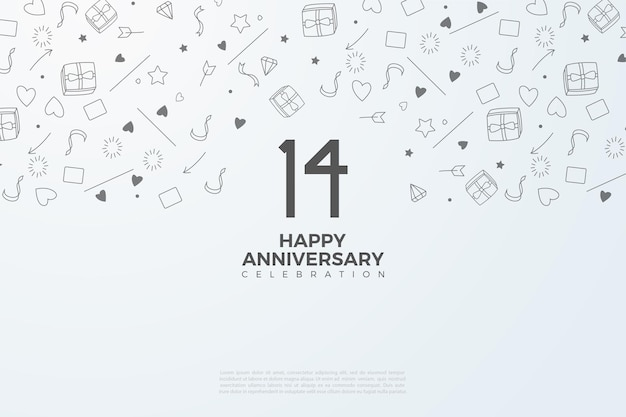 14th anniversary with illustrated background image.