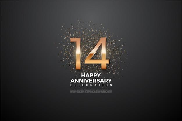 14-я годовщина с красивыми цифрами и блестками.