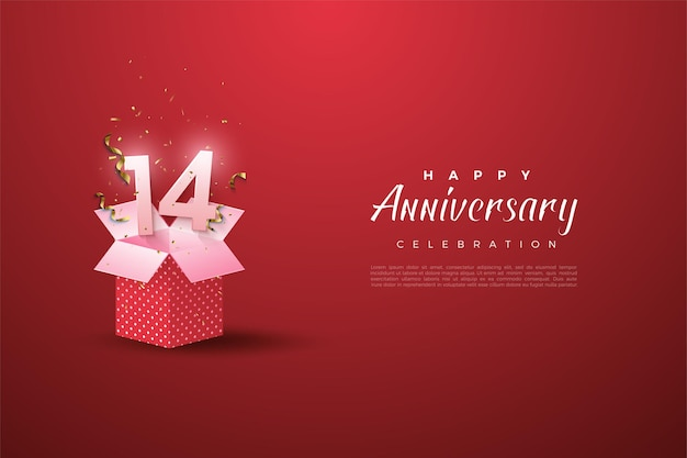 The 14th anniversary with the number on the open gift box.